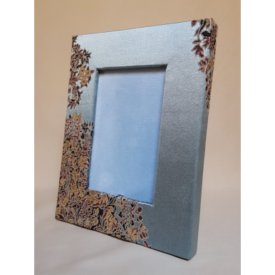 Cadre Photo à Poser Recouvert de Tissu Rubelli Sherazade Bleu Ciel