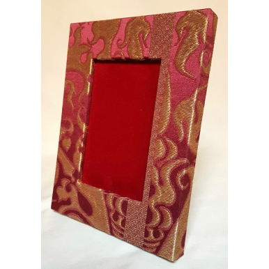 Rubelli Silk Lampas Fabric Covered Tabletop Picture Photo Frame Ruby Red & Gold Belisario Pattern