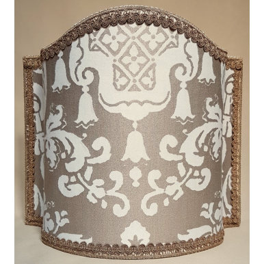 Venetian Lamp Shade Fortuny Fabric White & Gold Carnavalet Pattern