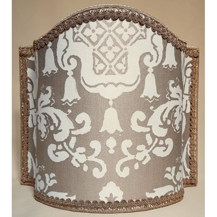 Venetian Lamp Shade Fortuny Fabric White & Gold Carnavalet Pattern