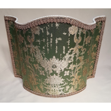 Venetian Lampshade in Rubelli Silk Jacquard Fabric Green and Gold Les Indes Galantes Pattern Half Lamp Shade