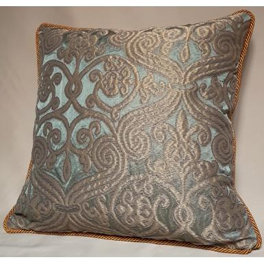 Throw Pillow Case Silk Jacquard Rubelli Fabric Celadon Green & Gold Trebisonda Pattern