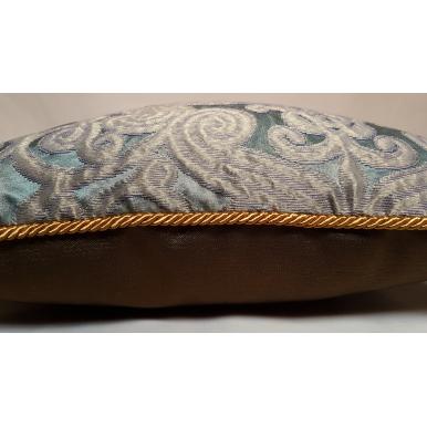 Fodera per Cuscino in Tessuto Jacquard di Seta Rubelli Trebisonda Verde Celadon e Oro