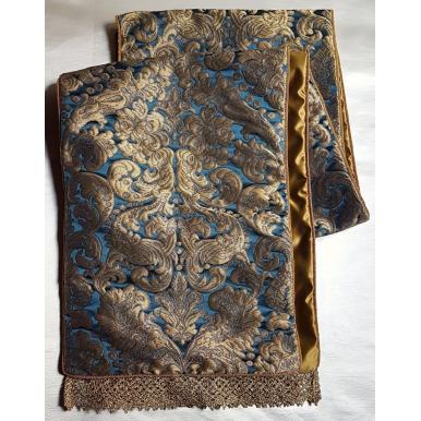 Luxury Table Runner Rubelli Fabric Silk Brocatelle Blue & Gold Tebaldo Pattern