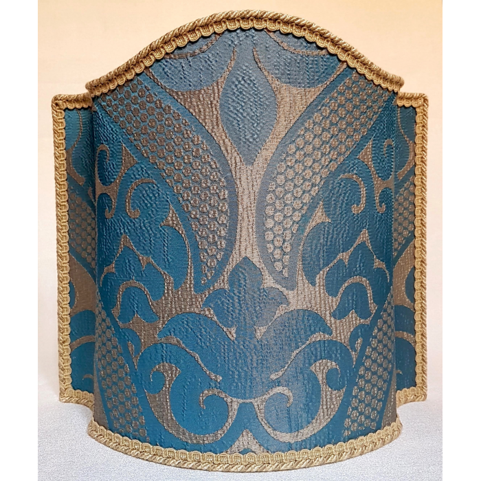 Venetian Lampshade in Rubelli Crinkled Blue and Gold Damask Fabric Sir Francis Pattern Half Lamp Shade