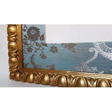 Cadre Bois Doré Avec Passe Partout en Tissu Rubelli Madama Butterfly Bleu Aqua