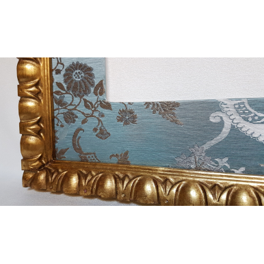 Gilt Gold Leaf Carved Wooden Frame with Rubelli Fabric Hand-Wrapped Passepartout Aqua Blue Madama Butterfly Pattern