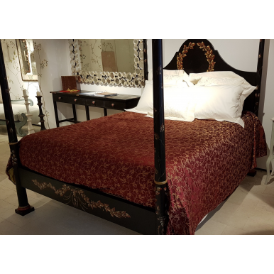 Luxury Custom-Sized Bedspread Ruby Red & Gold Silk Lampas Rubelli Fabric Giambellino Pattern