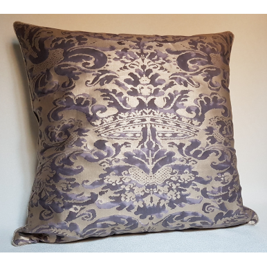 Throw Pillow Cushion Cover Fortuny Fabric Grey & Silvery Gold Corone Pattern