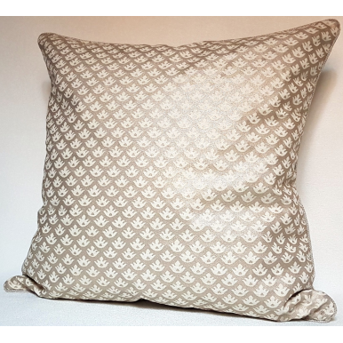 Throw Pillow Cushion Cover Fortuny Fabric Ivory & Silvery Gold Canestrelli Pattern