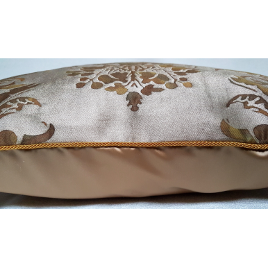 Fortuny Fabric Throw Pillow Case Tortoise & Gold Dandolo Pattern