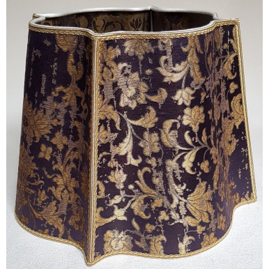 Fancy Square Lamp Shade Blue-Purple and Gold Silk Jacquard Rubelli Fabric Les Indes Galantes Pattern