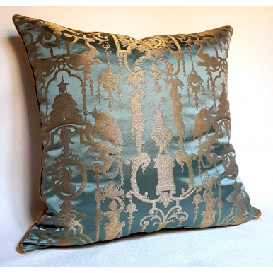 Throw Pillow Cushion Cover Silk Brocade Rubelli Fabric Aqua Blue and Gold Aida Pattern