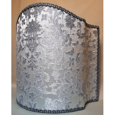 Venetian Lampshade in Rubelli Silk Jacquard Fabric Ivory and Silver Les Indes Galantes Pattern Half Lamp Shade