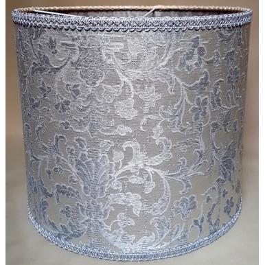 Abat Jour Cylindre Tissu Jacquard de Soie Rubelli Les Indes Galantes Blanc et Argent