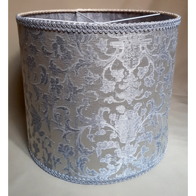 Drum Lamp Shade White and Silver Silk Jacquard Rubelli Fabric Les Indes Galantes Pattern