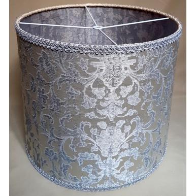 Paralume Cilindro Tessuto Jacquard di Seta Rubelli Les Indes Galantes Bianco e Argento