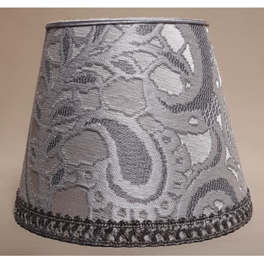 Clip On Lamp Shade in White & Silver Silk Lampas Rubelli Gianduja Pattern