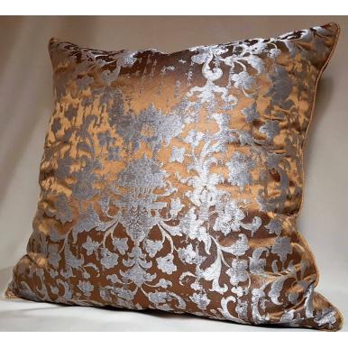 Fodera per Cuscino in Tessuto Jacquard di Seta Rubelli Les Indes Galantes Bronzo e Argento