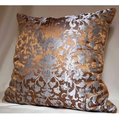 Silk Jacquard Bronze & Silver Les Indes Galantes Rubelli Fabric Throw Pillow Cushion Cover