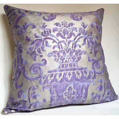 Throw Pillow Cushion Cover Fortuny Fabric Royal Purple and Silvery Gold Carnavalet Pattern
