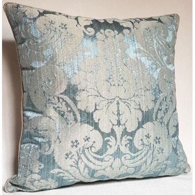 Throw Pillow Cushion Cover Rubelli Fabric Light Blue Silk Damask Ruzante Pattern