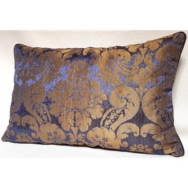 Throw Pillow Cushion Cover Rubelli Fabric Blue Silk Damask Ruzante Pattern