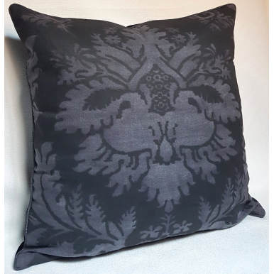Fortuny Fabric Throw Pillow Cushion Cover Black Smokey Glicine Pattern