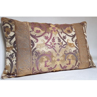Throw Pillow Cushion Cover Ivory and Purple Silk Lampas Rubelli Fabric Vignola Pattern