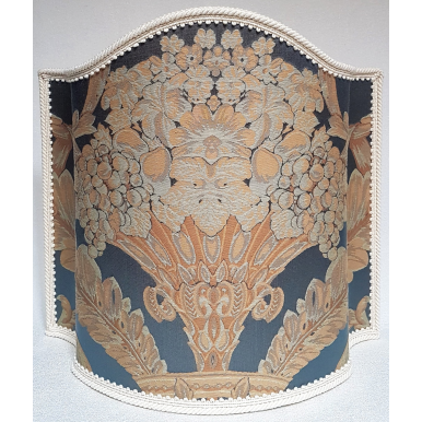 Venetian Lampshade in Rubelli Damask Fabric Blue Labuan Pattern Half Lamp Shade