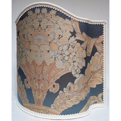 Paralume Ventola Artigianale in Tessuto Damasco Rubelli Labuan Blu