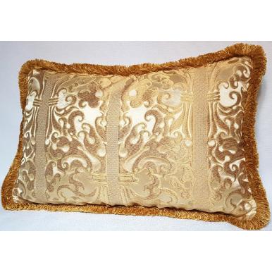 Fodera per Cuscino in Lampasso di Seta Rubelli Belisario Avorio e Oro