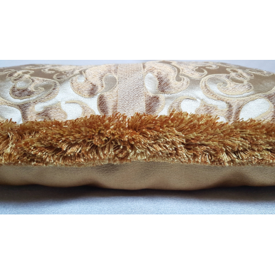 Lumbar Throw Pillow with Brush Fringe Ivory and Gold Silk Lampas Rubelli Fabric Belisario Pattern