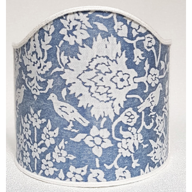 Wall Sconce Clip-On Lamp Shade Fortuny Fabric Cornflower Blue & Antique White Alberelli Pattern