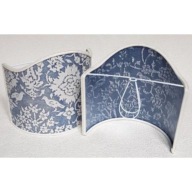 Abat Jour à Pince Fait Main Tissu Fortuny Alberelli Bleu et Ivoire