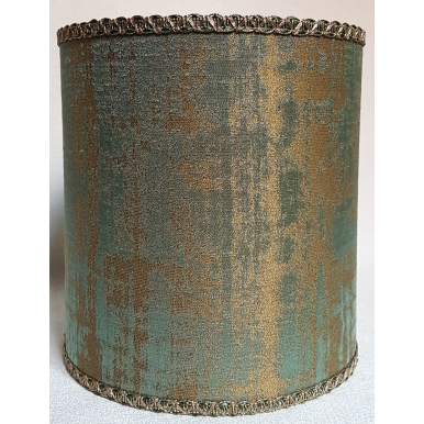 Drum Lamp Shade Reseda Green and Gold Rubelli Fabric Venier Pattern