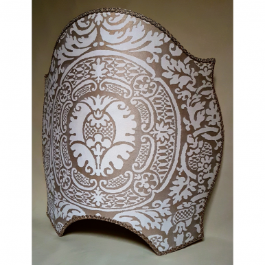 Wall Light Half Lampshade Fortuny Fabric Champagne & Silvery Gold Orsini Pattern