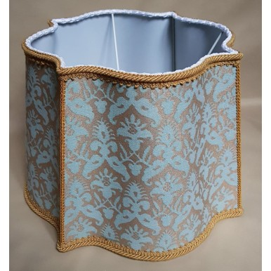 Fancy Square Lamp Shade Fortuny Fabric Aquamarine & Silvery Gold Delfino Pattern