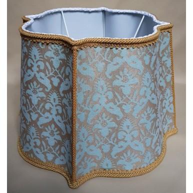 Abat Jour Florentin Tissu Imprimé à la Main Fortuny Delfino Aquamarine et Or