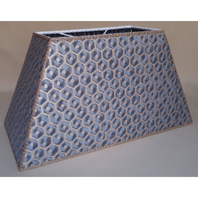 Blue and Gold Rectangle Lamp Shade Fortuny Fabric Favo Pattern