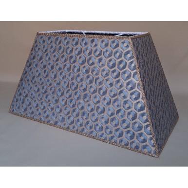 Paralume Rettangolare Tessuto Fortuny Favo Blu e Oro