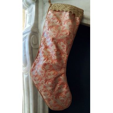 Luxury Christmas Stocking Fortuny Fabric Bittersweet & Silvery Gold Richelieu Pattern
