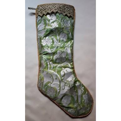 Luxury Christmas Stocking Fortuny Fabric Green & Gold Persepolis Pattern