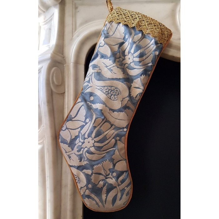 Luxury Christmas Stocking Fortuny Fabric Midnight Blue & Silver Melagrana Pattern