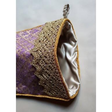 Luxury Christmas Stocking Fortuny Fabric Chinese Plum & Gold Murillo Pattern