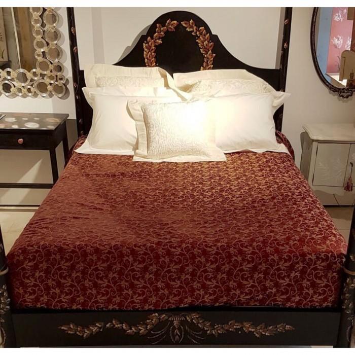 Copriletto in Tessuto Lampasso di Seta Rubelli Giambellino Rosso Rubino e Oro