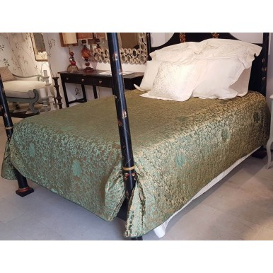King Size Bedspread Green & Gold Silk Jacquard Rubelli Fabric Les Indes Galantes Pattern