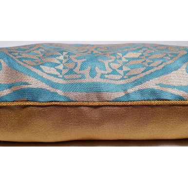 Decorative Pillow Cover Fortuny Fabric Blue-Green & Silvery Gold Orsini Texture Pattern