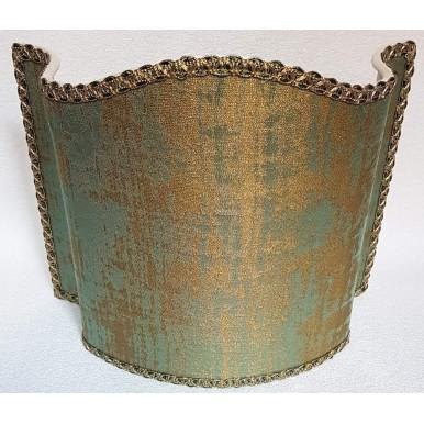 Venetian Lamp Shade Rubelli Venier Jacquard Fabric Reseda Green & Gold Half Lampshade