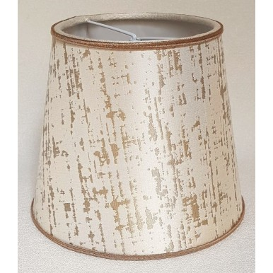 Clip On Lamp Shade in Off-White & Gold Silk Lampas Rubelli Fabric Zanni Pattern